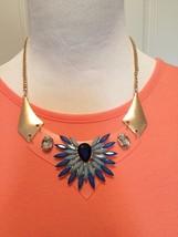 Blue Clear Acrylic Flower burst Statement Necklace - $26.16 CAD