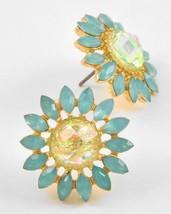 Turquoise Blue Lemon Lime Shimmer Flower Stud Earrings Gold Tone - $19.00