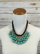 Turquoise Blue Bead faux Black suede Statement Necklace - £15.67 GBP