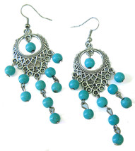 Western Turquoise Chandelier Turquoise Beaded Silver Tone Earrings - $19.00