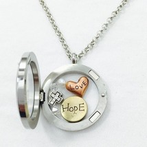 Round Floating Charms Locket Words Love Hope Rhinestone Cross Fashion Ne... - £22.50 GBP