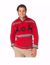 New Men's Chaps Red Ugly Christmas Xmas Reindeer Sweater Top Shirt Sz Large $80 - $26.01