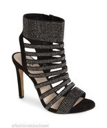 New $149 Vince Camuto Katal Black True Suede Studded Evening Dress Heels... - $76.28