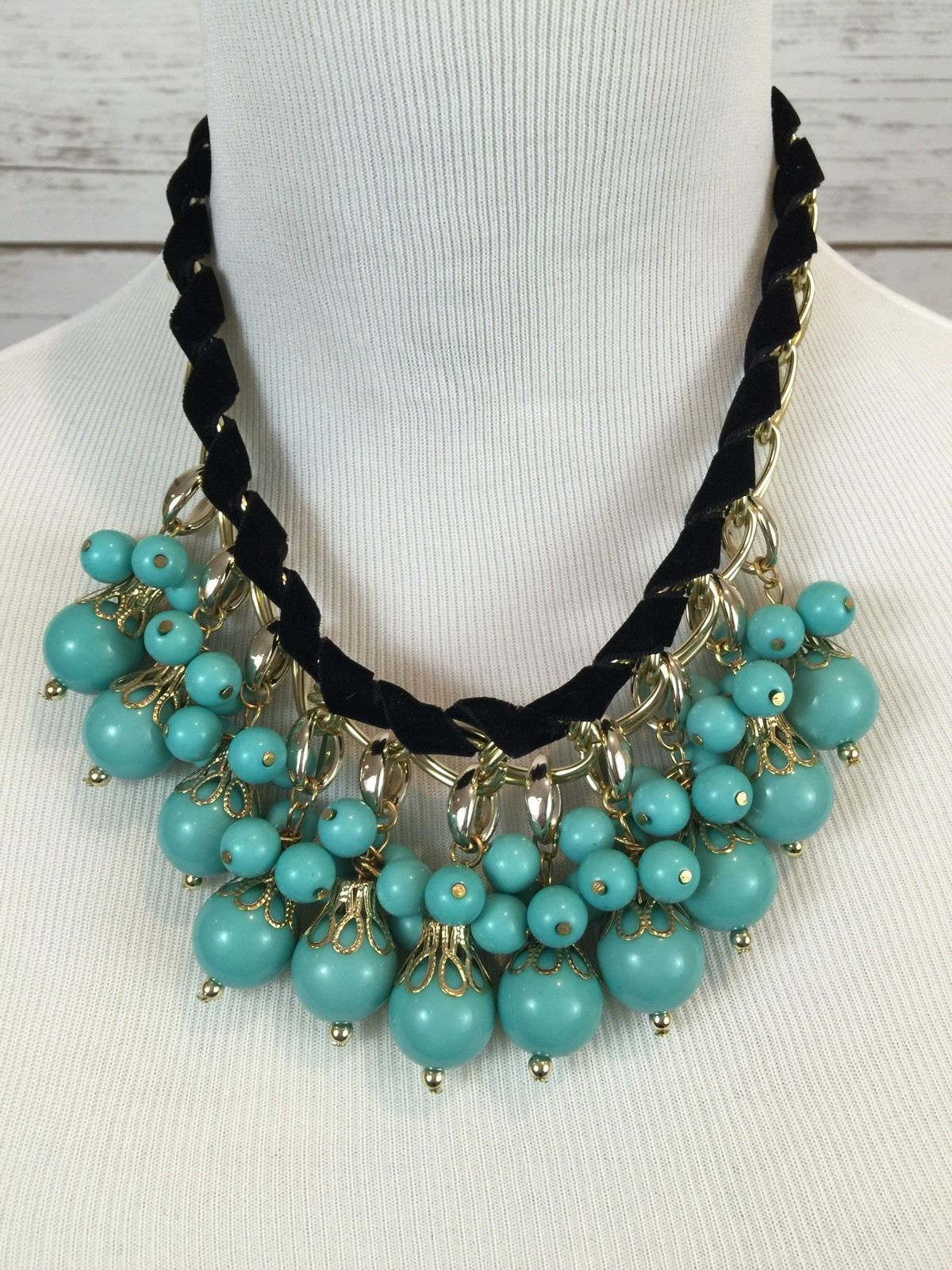 Turquoise Blue Bead faux Black suede Statement Necklace