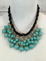 Turquoise Blue Bead faux Black suede Statement Necklace image 2