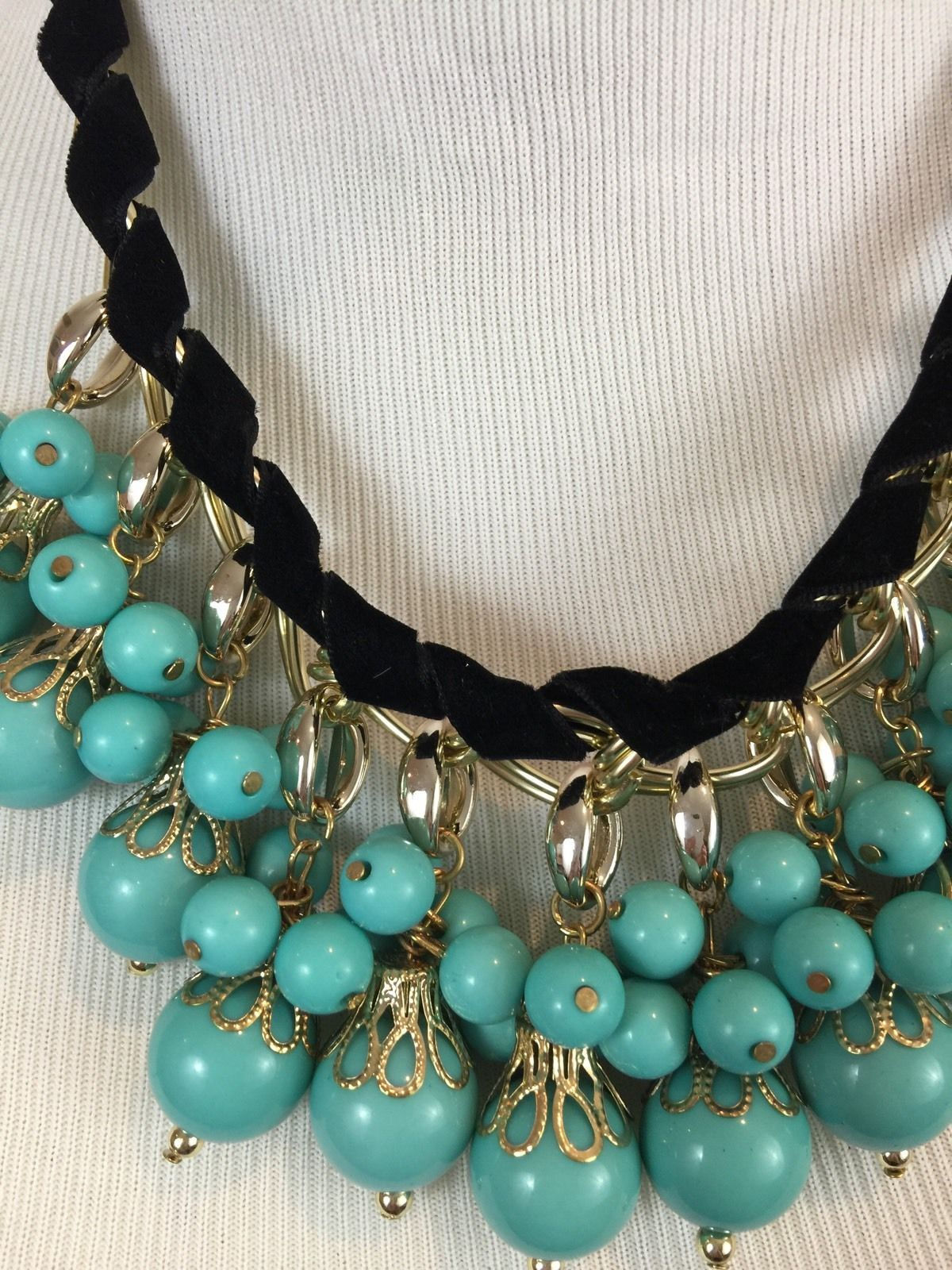 Turquoise Blue Bead faux Black suede Statement Necklace image 3