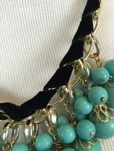 Turquoise Blue Bead faux Black suede Statement Necklace image 4