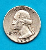1957 Washington Quarter - Silver -Moderate Wear - $12.00