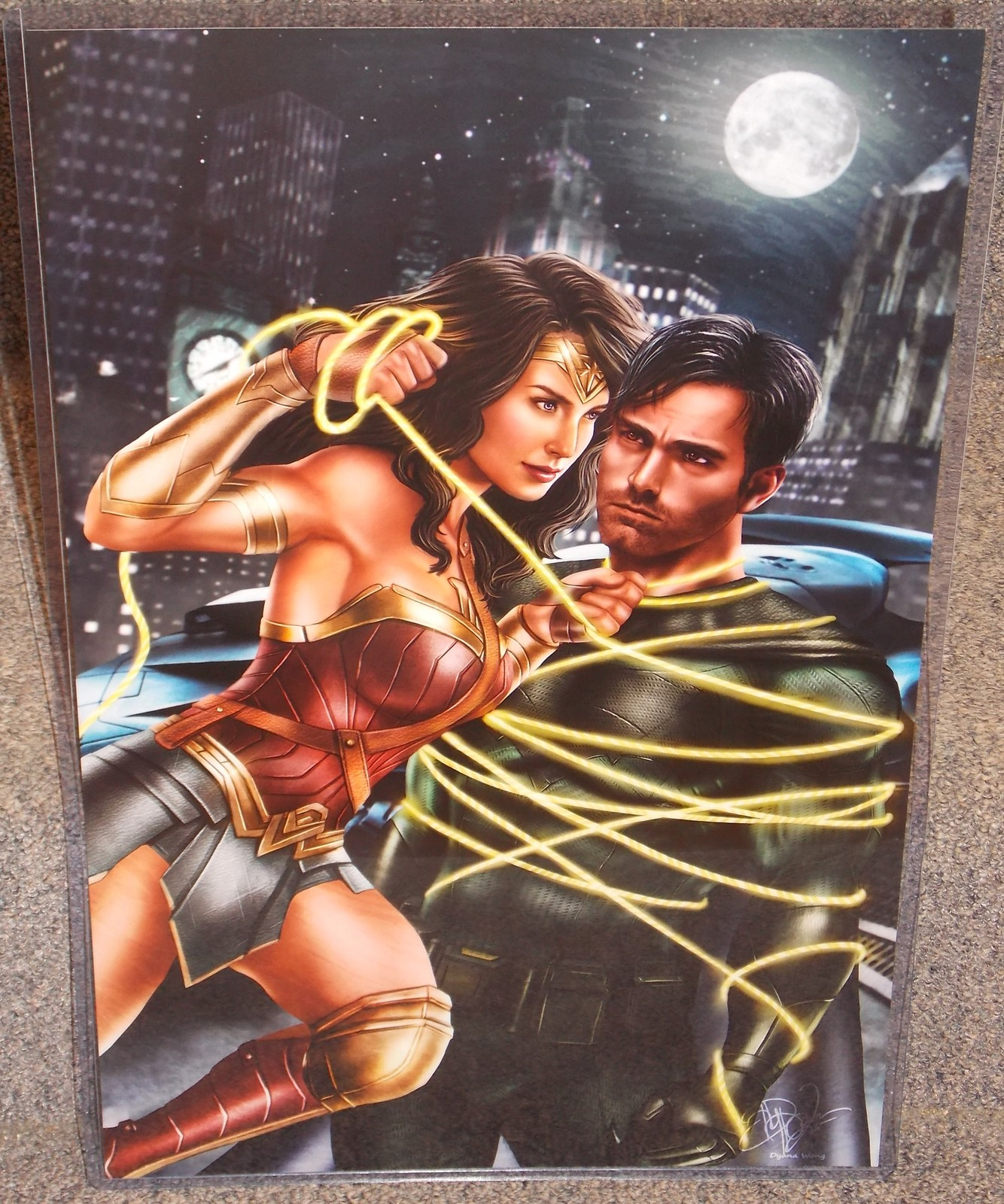 Primary image for Wonder Woman & Batman Glossy Print 11 x 17 In Hard Plastic Sleeve