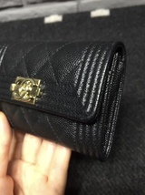 AUTH CHANEL BLACK QUILTED CAVIAR LARGE BOY TRI-FOLD COIN WALLET  image 5
