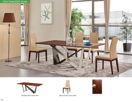 ESF 1533 Table With 2082 Chairs Dining Set 5pc. Walnut Top Contemporary Modern