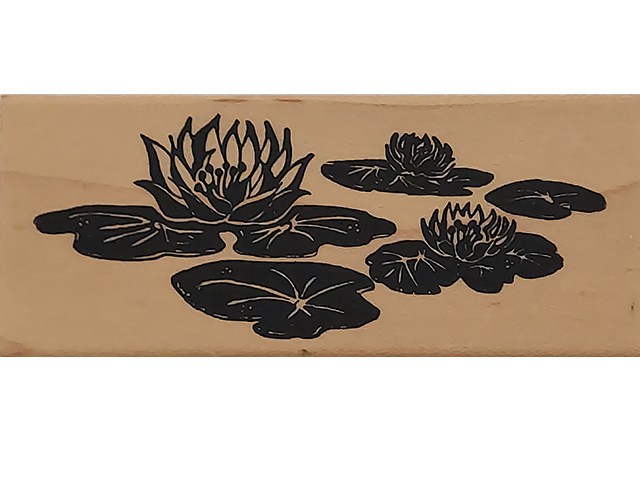 Posh Impressions 1996 Lilly Pads Wood Mounted Rubber Stamp