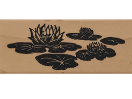 Posh Impressions 1996 Lilly Pads Wood Mounted Rubber Stamp  image 1