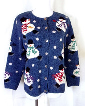 euc Talbots Pixelated Snowmen Holiday Cardigan Sweater ugly christmas pe... - $29.59 CAD