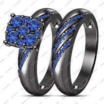2 Pcs 14K Black Gold FN 925 Silver Round Cut Blue Sapphire Engagement Br... - $86.51