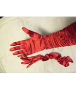 Red Evening Dance Formal Long Gloves Very Nice - $4.50