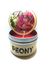 Peony 4oz All Natural Soy Candle Tin (Take It Any Where) Approximate Bur... - €5,28 EUR