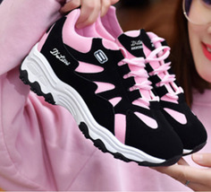 pa033 elegant lace up sport shoes, sneaker,spell color US Size 4-9, black/pink - $38.80