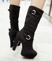 woman middle cylinder boot with double buckles, size 4-10.5, black - $62.80