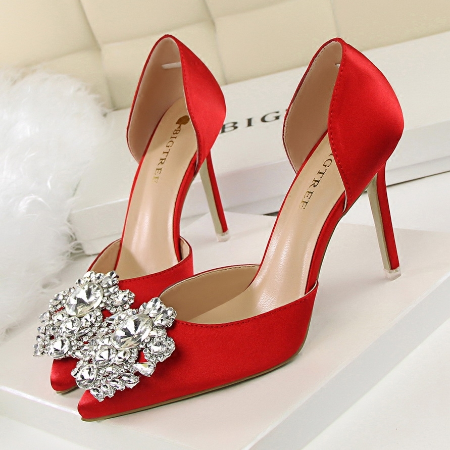Primary image for pp108 Elegant sharp-headed ankle pumps w rhinestones & crystal, size 34-39,gold