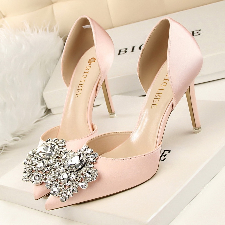Primary image for pp108 Elegant sharp-headed ankle pumps w rhinestones & crystal, size 34-39,pink