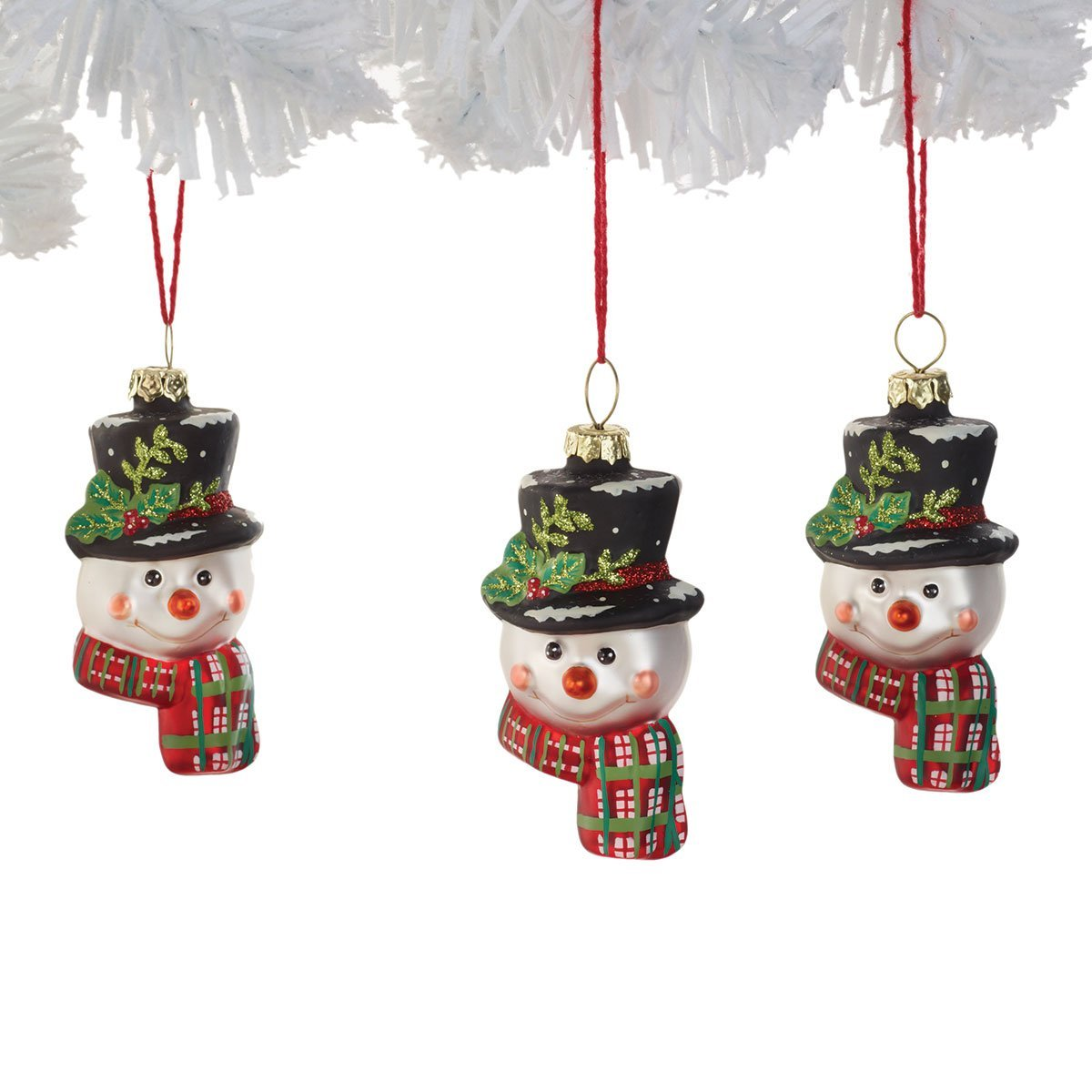 Demdaco Mini Snowman Glass Ornament, Set of 3