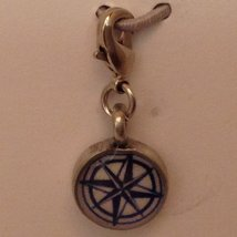 Petite Peltro Compass Rose Charm w Lobster Claw Clasp in Pewter