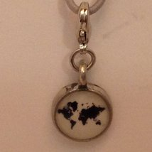 Petite Peltro World Traveler Map Charm w Lobster Claw Clasp in Pewter