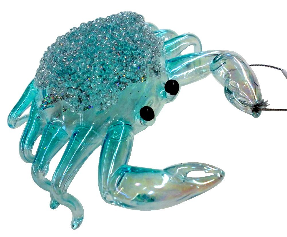 Blue Crab Christmas Ornament with Textured Sparkle Finish