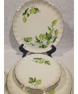 Green / Off White W.S.George Dinnerware 8 Pieces Green Maple Pinecone Hops - $34.30