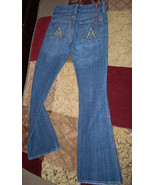 7 for all mankind A pocket jeans womens 24 premium denim 00 0 medium wash - $98.99
