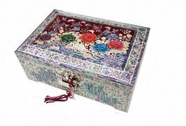 Mother of pearl trinket jewelry box jewel case organizer peony flower re... - €334,74 EUR