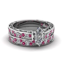 Marquise Shaped CZ Antique Wedding Ring Set W/ Pink Sapphire 14K White Gold Fn - $97.99