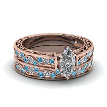 Marquise Shape CZ Antique Wedding Ring Set W/ Ice Blue Topaz 14K Rose Gold Fn - $97.99