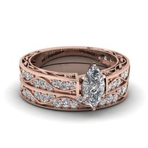 Marquise Shaped Cubic Zirconia Antique Wedding Ring Set 14K Rose Gold Finish - $97.99