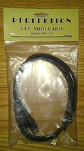 Perfektion 5 ft MIDI Connecting Cable Male Patch CordWire 5pin Model PM-705 - $12.99