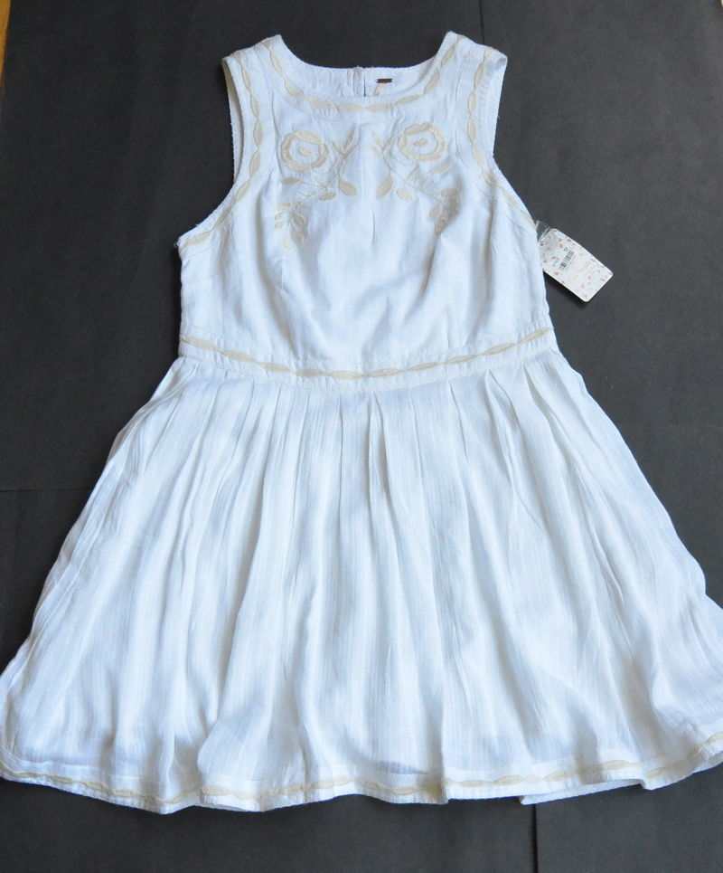 Free People Dress 6 S Birds of a Feather Mini White Cotton OB483603 Embroydered