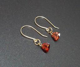 Heart Shape Red Zircon Handmade Dangle Earrings, Gold Filled Wire Earrin... - $12.00