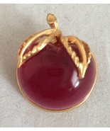 Vintage Gold Tone SARAH COVENTRY RED/Pink Cherry Apple Lucite Pin/Brooch - $18.32