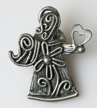 """Signed Artisan Silver Or Pewter Lapel Pin Angel Holding A Heart 1.25"""" Valentine - $19.29"""