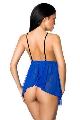 Babydoll negligee lingerie royal blue Blue Transparent incl. STRING LINGERIE