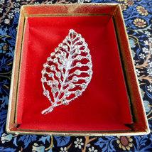 Rhinestone Leaf Pin Brooch Original Box 1950s Figural Rhinestones Elegan... - $18.00