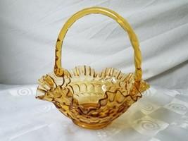 Fenton Glass Thumbprint Colonial Amber Bridal Basket Ron Bayles Maker - $35.10