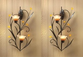 Candle Wall Sconce Two Amber Lily Cup Candle Holder Set of 2 - $39.95