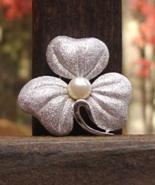 Vintage Crown Trifari Trillium Flower Shamrock Brooch w Faux Pearl - $75.00