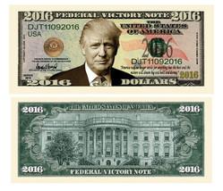 Pack of 50 - Donald Trump Victory 2016 Presidential Novelty Dollar Bills - $14.80