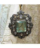 Oxidised Vintage Reproduction 1.84Ct. Rose Cut Diamond Silver Pendant hv205 - $538.20