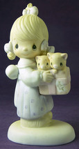 Precious Moments TO THEE WITH LOVE Figurine J & D 1979 E3120 Girl & Kitt... - $5.18