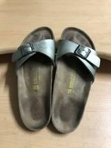 Birkenstock Women 6 Madrid Metallic Gray Green Leather One Strap Sandal ... - $22.20