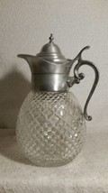 BEAUTIFUL VINTAGE WAFFLE GLASS PITCHER DECANTER WITH ORNATE HANDLE - $37.39